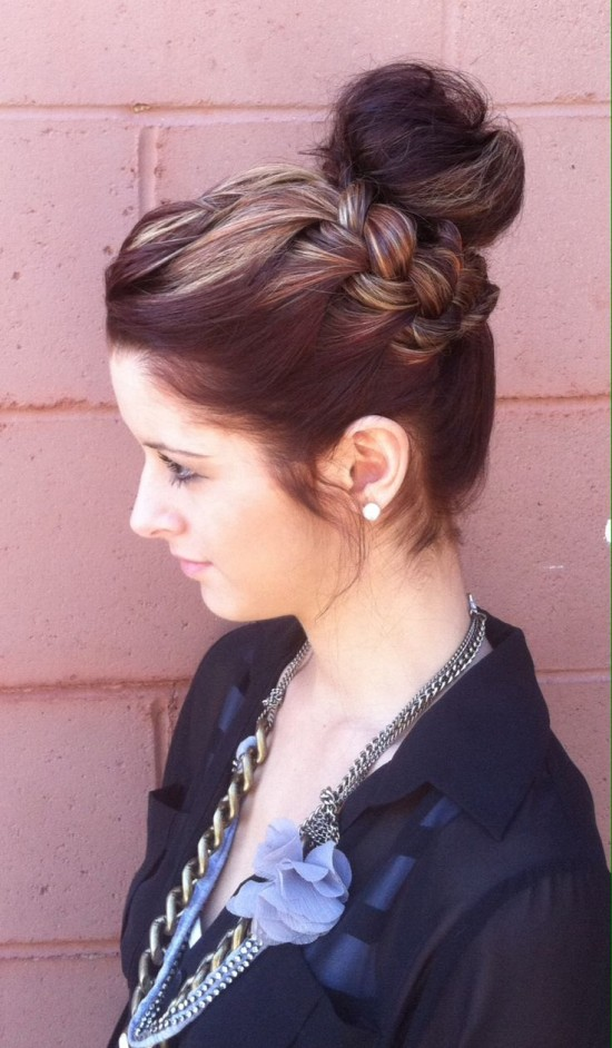 Side braid with sock bun