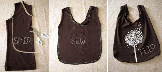 Upcycle tee shirt - handbag