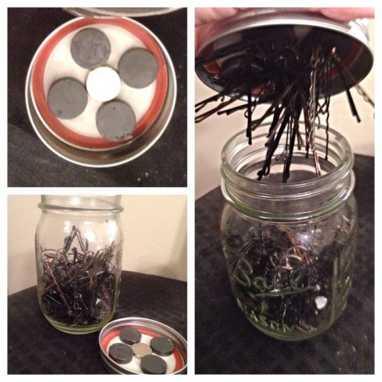Organize bobby pins - magnetic jar