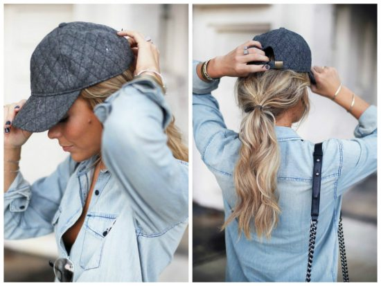Hair styles with ball caps - ponytail