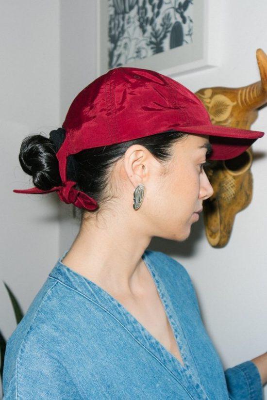 Hair styles with ball caps - side bun